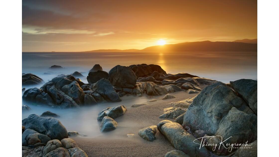 Coucher de soleil, Golfe de Valinco, Corse.