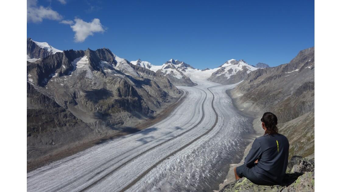 Strahlhorn(3026m), above Aletsch glacier, biggest glacier of the alps