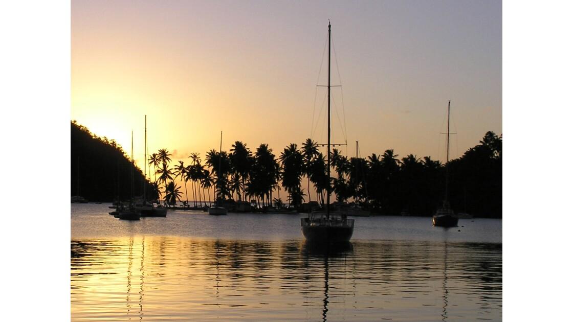 Coucher de soleil sur Marigot Bay