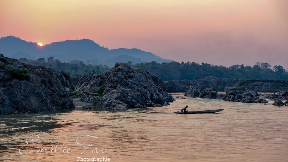 Coucher de soleil sur les 4000 îles du Laos