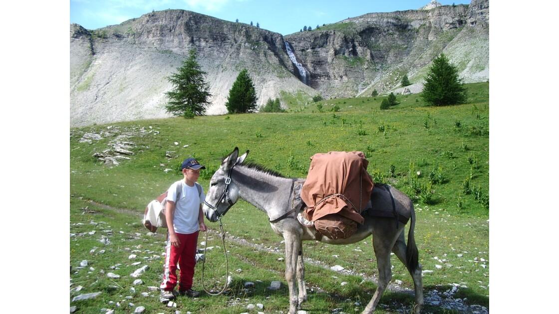 randonnée avec un âne dans les Alpes du sud