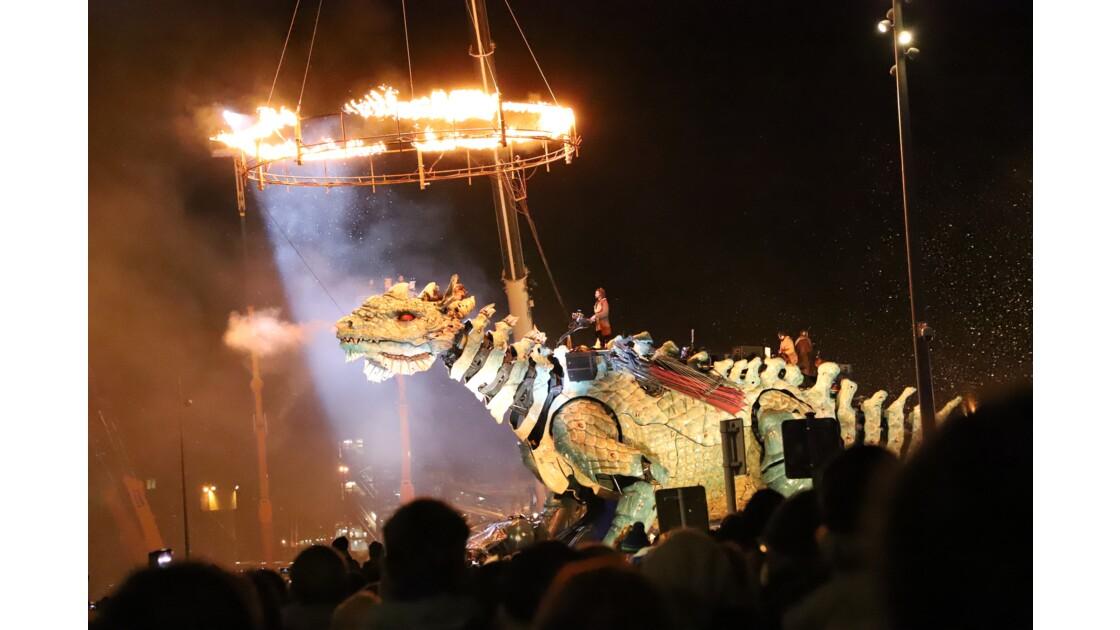 Dragon la nuit sur la digue