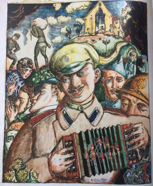 Le Soldat russe jouant de l'accordéon, Alexandre Zinoview, 1916