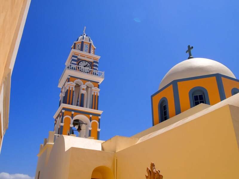 Grèce - De Firostefani à Thira / Fira à l'heure du déjeuner, Santorin