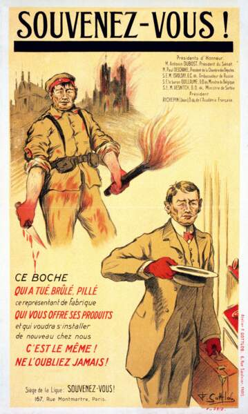 « Souvenez-vous, ce Boche qui a tué, brûlé, pillé. » Fernand-Louis Gottlob. 1919, France