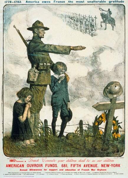 « L'Amérique voue à la France une inaltérable gratitude. » Lucien Jonas. 1918, France