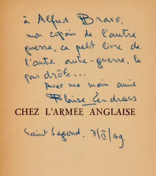 Chez l'armée anglaise, Blaise Cendrars, Paris, Editions Corrêa, 1940, avec envoi autographe