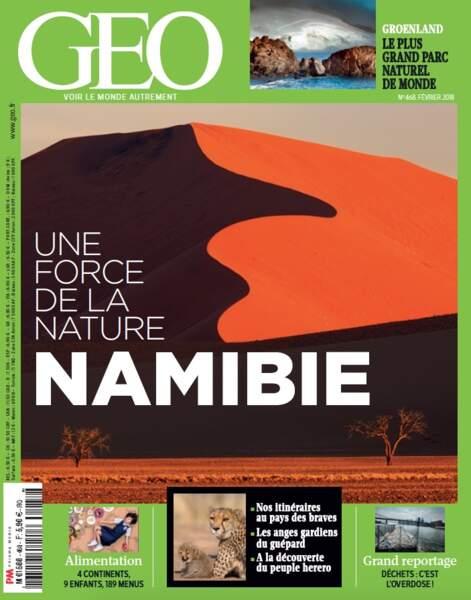 """""""Namibie : une force de la nature"""", grand dossier à découvrir dans le GEO de février 2018 (n°468)"""