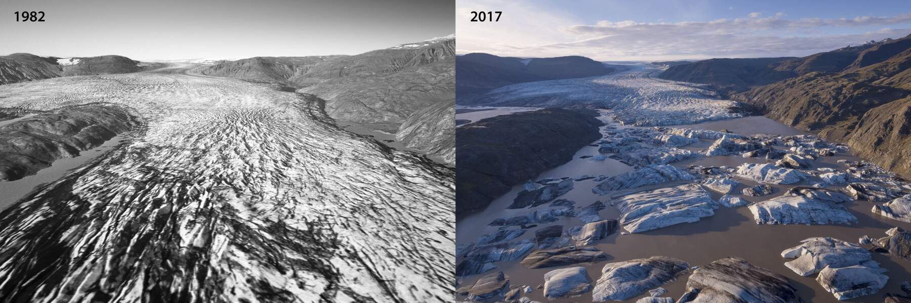 Le glacier Hoffellsjökull en 1982 et en 2017