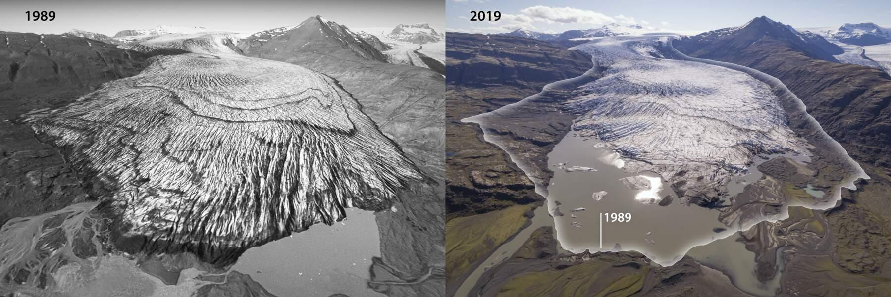 Skálafellsjökull en 1989 et en 2019