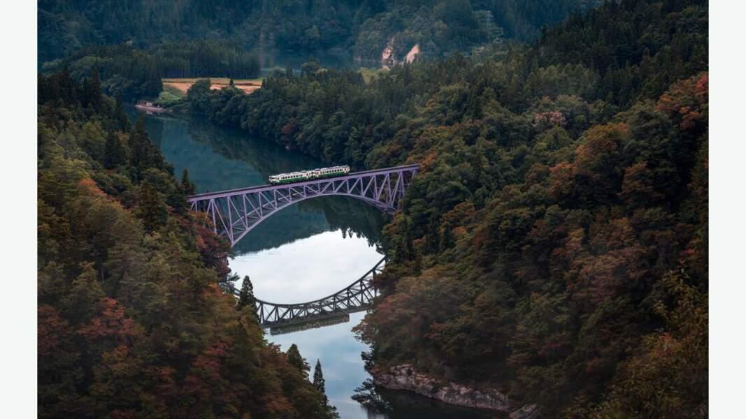 Pont suspendu au-dessus de la rivière Tadami
