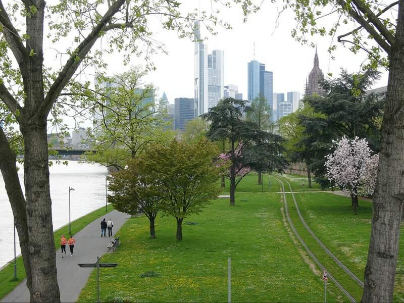 Espace vert au bord du fleuve Main, à Francfort, en Allemagne