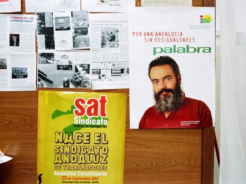 """Affiche de campagne de Juan Manuel Sanchez Gordillo, candidat """"vert"""" au parlement d'Andalousie."""