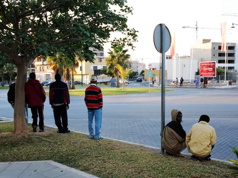 Les clandestins déambulent le long des routes, autour des ronds-points. Ils cherchent du travail.
