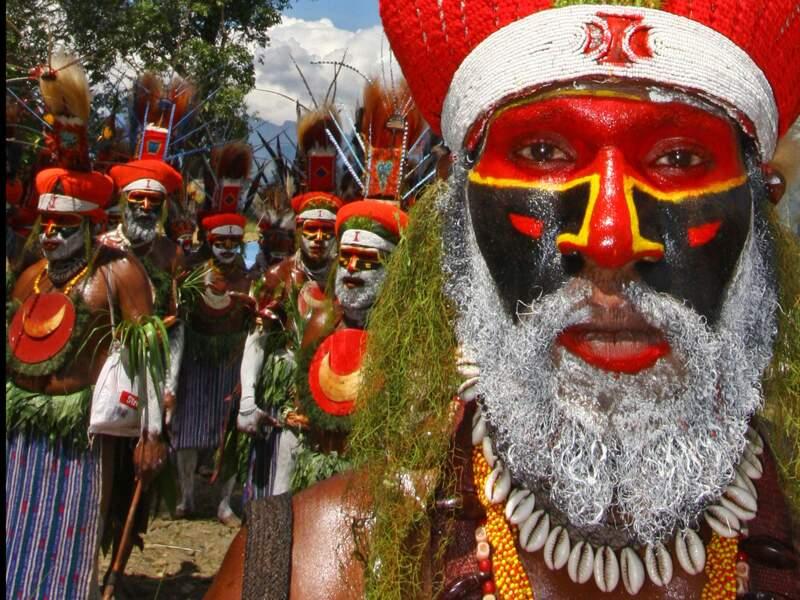 Guerriers Kunga à Mount Hagen, Papouasie-Nouvelle-Guinée