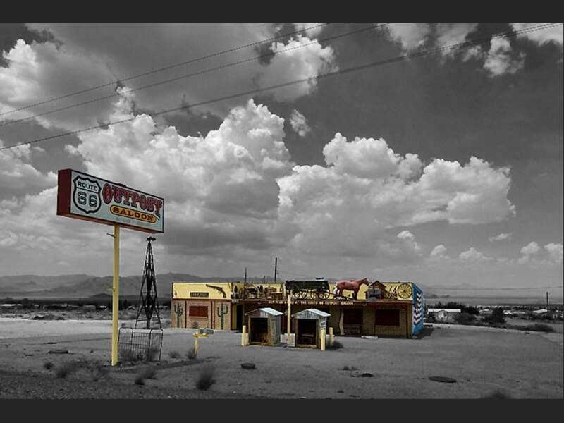 Un saloon abandonné sur la route 66 dans le Nevada, aux Etats-Unis.