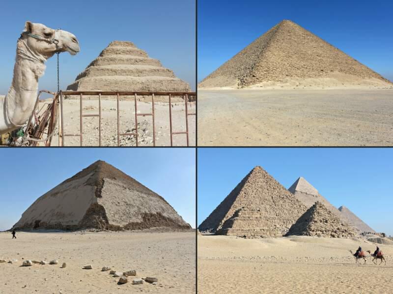 Les pyramides de Khéops, Khéphren, Djéser et Snéfrou