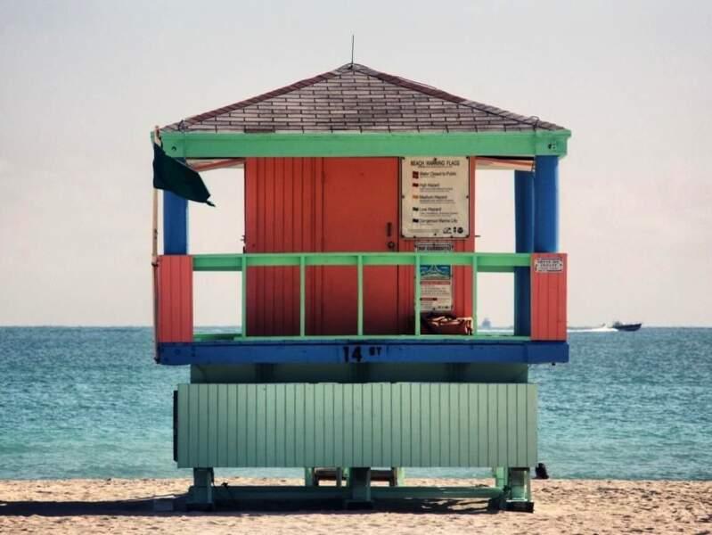 Poste de surveillance de baignade à South Beach, en Floride, aux Etats-Unis.