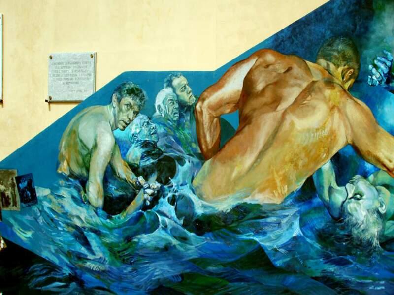Fresque à Riomaggiore, Cinqueterre, Italie