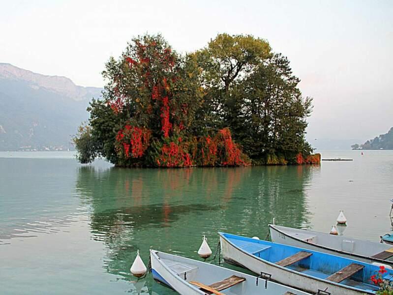 Située en face d'Annecy, en France, l'île aux Cygnes doit son nom aux élégants volatiles qui viennent y nicher.