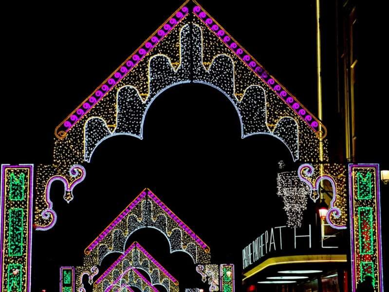 Illuminations de la rue de la République à Lyon (Rhône, Rhône-Alpes).
