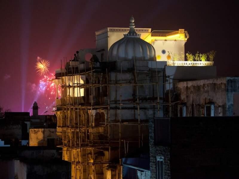 Feu d'artifice à Udaipur, dans le Rajasthan, en Inde
