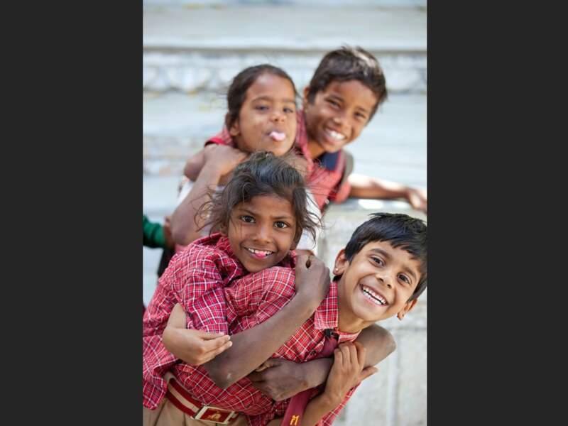 Rires d'écoliers à Udaipur, dans le Rajasthan, en Inde