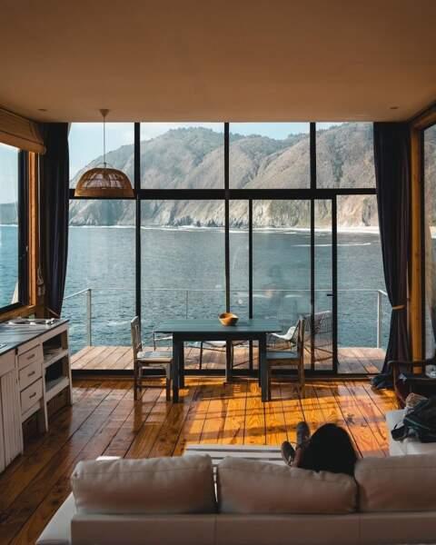 Une cabane avec vue sur Qintay's Bay au Chili