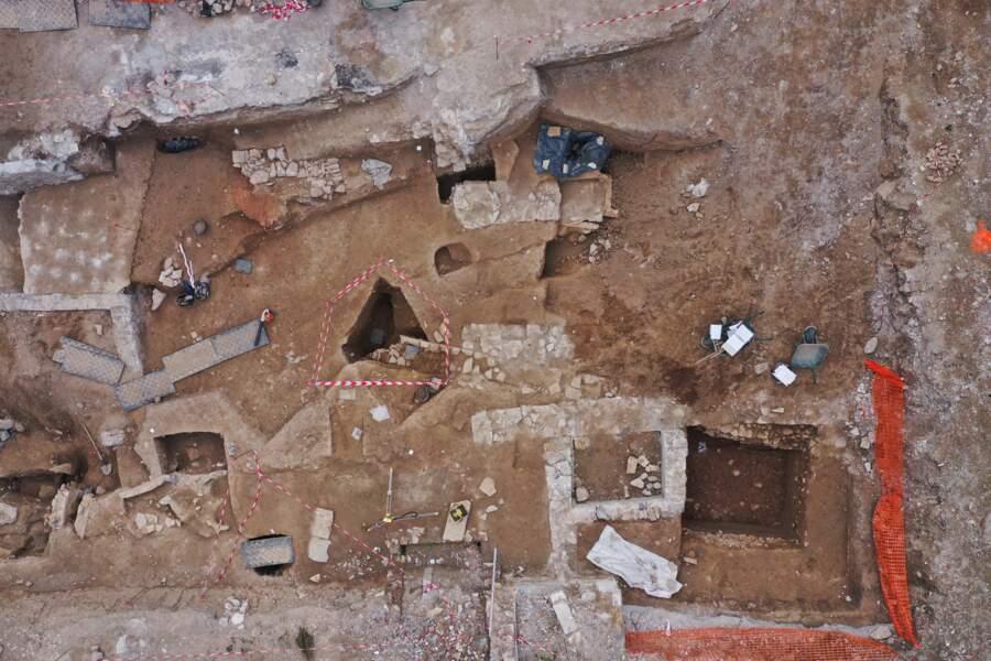 Vue aérienne d'une partie de la première tranche de fouille