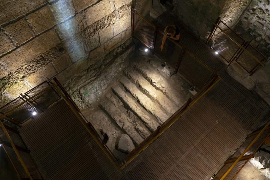 Piscine à gradins installée dans l'une des chambres à la fin de la période du Second Temple qui servait de bain rituel.