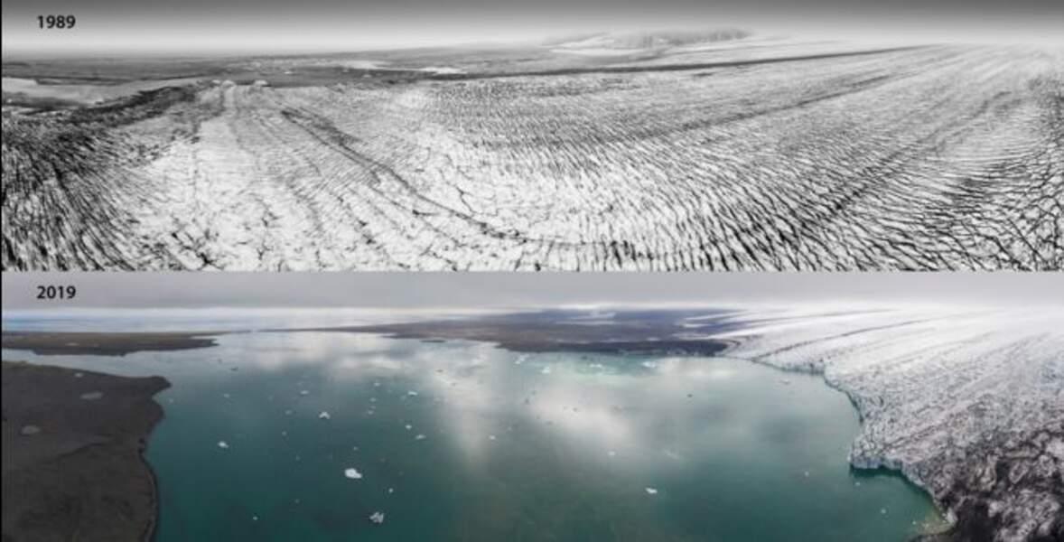 Le Breiðamerkurjökull, langue glaciaire du Vatnajökull, entre 1989 et 2019.