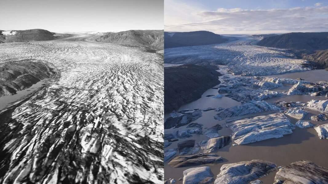 Hoffellsjökull, langue glaciaire du Vatnajökull, entre 1982 et 2017.
