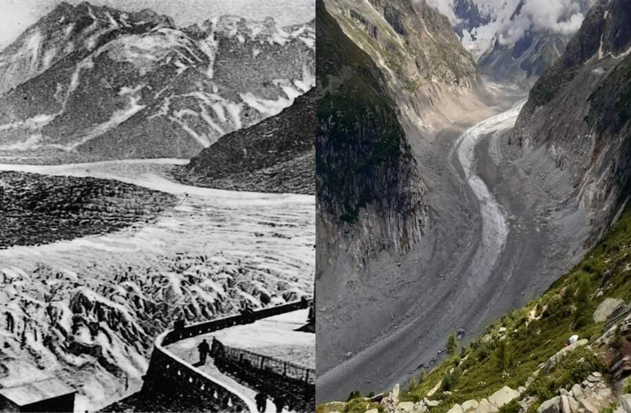 La mer de Glace, dans le massif du Mont Blanc, entre 1910 et 2021
