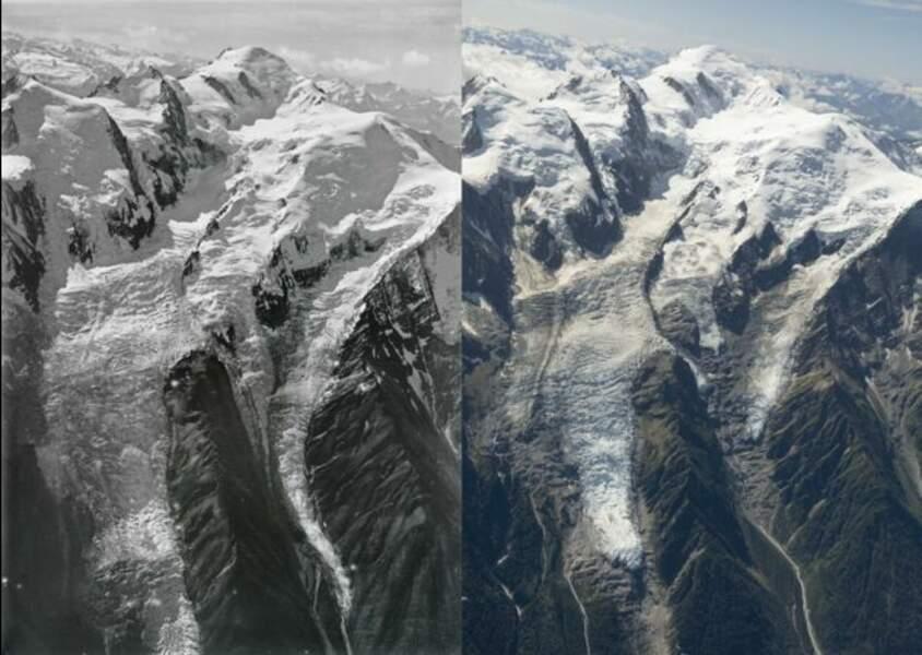 Le glacier des Bossons entre 1919 et 2019