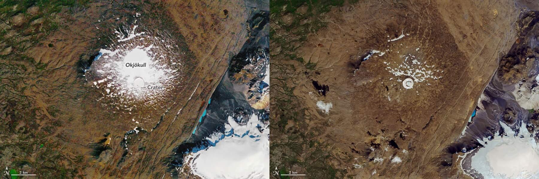 Le glacier Okjökull entre 1986 et 2019