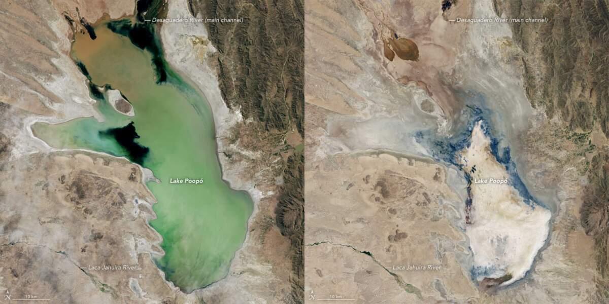 Le lac Poopó entre 2013 et 2016