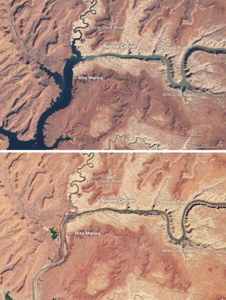 Le Lac Powell entre 1986 et 2021