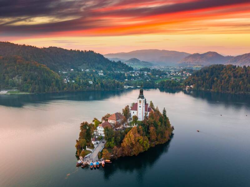 Le lac de Bled en automne